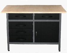 Werkbank Robuster Werktisch mit Schubladen Arbeitsplatz Werkstattausrüstung schw