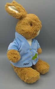Peter Rabbit Bunny Plush 14 Inch Blue Coat 2007 Embroidery Eyes Beatrix Potter