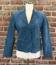 Petite Sophisticate Women's Small Size Petite Teal Leather Blazer
