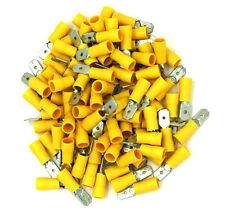 """100 Pack 12-10 Gauge Yellow Male Quick Disconnect Terminals .250"""" - SHIPS FREE!"""