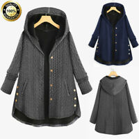 Womens Plus Size Casual Loose Button Pockets Long Sleeve Hooded Coat Outerwear