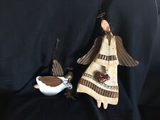 2 rustic wooden and ceramic angels with halos and metal wings for wall hangings