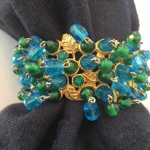 Vintage Bangle Clamper Gold Plated Bracelet w/Dangle Colored Crystals