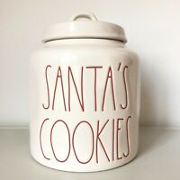 New Rae Dunn White & Red SANTA'S COOKIES Christmas 2019 LL Large Letter Canister