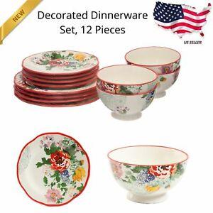Woman 12 Pieces Dinnerware Set Floral Dishes Ceramic Plates Bowl Plate Bowls Set