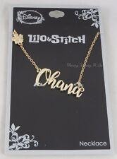 New Disney Lilo & Stitch Cursive Ohana Name Plate Necklace Hibiscus Charm