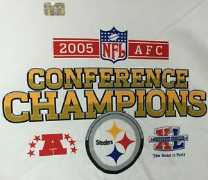 Reebok 2005 NFL AFC Conference Champions Steelers Super Bowl T-Shirt Size XL