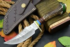Custom Damascus Steel Hunting Knife Handmade With Stag Horn Handle (Z218)