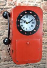 Metall Wanduhr ROT Retro Telefon Schlüsselkasten mit Uhr 35cm LV5099