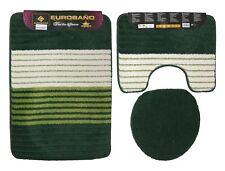 Badgarnitur grün mehrfarbig 3 tlg. Badvorleger, Deckel Bezug  WC Vorleger