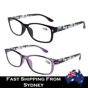 Men Women Magnify Reading Glasses Spring Hinged Black Purple+1.0 to +3.5