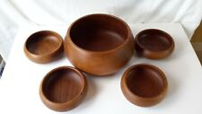 New listing Vintage Good wood Thailand Teak Wood Salad Bowl Set 5 pieces Solid Wood