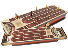 Continuous Cribbage Board +Drawer with Inlaid 4 Tracks & place to mark won games