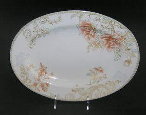 "NEW 222 Fifth ZOE WHITE Oval LARGE Serving Platter 14"" x 10.25"" Floral"