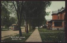 Postcard BUTLER Pennsylvania/PA  Main Street Houses/Homes & Trolley view 1907?