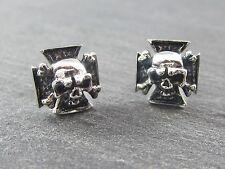 Edelstahl Ohrstecker  Eisernes Kreuz Totenkopf Skull  Heavy Metal Rock Biker