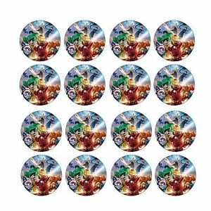 24x Avengers Edible Cupcake Cake Toppers Images Wafer Paper 4cm (uncut)