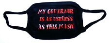 """Cotton mask - """"My Governor is as Useless"""" Adult, Black & Red, NEW"""