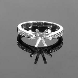 925 Sterling Silver 6 Prong Engagement Ring Setting 8 mm Round Semi Mount Ring