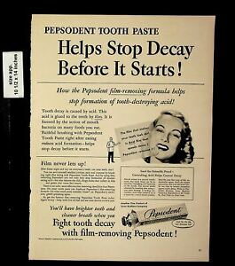 1950 Pepsodent Tooth Paste Fight Tooth Decay Vintage Print Ad 19246