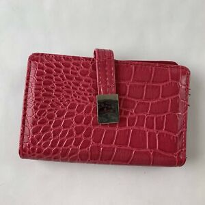 Wilsons Mini Wallet Clutch Pink Bow Faux Leather Croc Textured Casual Outdoor
