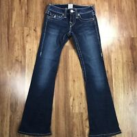 TRUE RELIGION Women's Joey Flare Blue Denim Flap Pocket Jeans Sz 24 x 28
