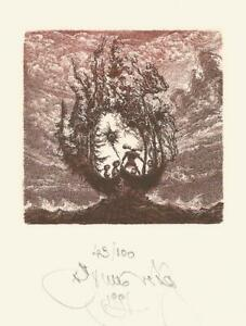 "BOOKPLATE EXLIBRIS ""TROPIC OF CAPRICORN"" COLOUR ETCHING by Albin BRUNOVSKY/SLK"