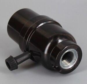 """3-WAY TURN KNOB PHENOLIC LAMP SOCKET WITH LARGE 1/2"""" HOLE LAMP PART NEW 95091G"""
