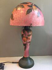 Vtg Art Deco Nouveau Galle Style Cameo Art Glass Table Lamp Clementine Fruit