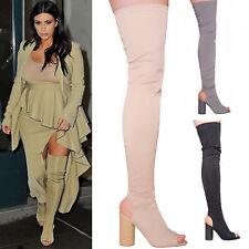 Ladies Womens High Block Heel Thigh High Stretchy Peep Toe Celeb Boots Size 3-8