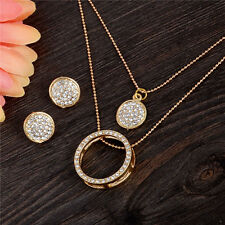 New Gold Plated Austrian Crystal Circle Jewelry Set Pendant Necklace Earrings