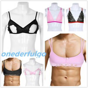 Mens Sexy Adult Sissy Male Training Bra Lingerie Satin Lace Bralette Crop Tops