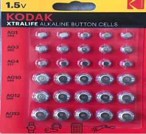 Kodak Xtralife LR44 AG13 AG12 AG10 AG4 AG3 AG1 Alkaline Battery Cell - 5 Pack