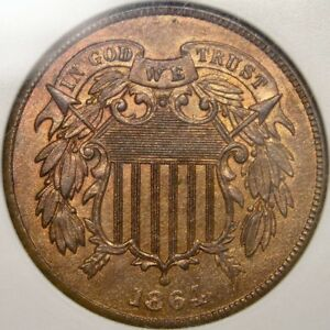 1864 TWO CENT VERY RARE FS-001.8 REVERSE INDIAN HEAD CLASH & QPD ANACS MS 64 RB