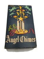 ANTIQUE-MID-CENTURY MODERN ANGEL CHIMES XMAS CENTERPIECE CANDLE BOX VTG RETRO
