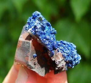Hematite Quartz Specimen with Azurite - M'Cissi, Morocco.