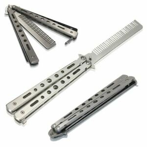 Butterfly Flick Balisong Hair Beard Comb Stainless Steel Practice Trainer Tool