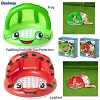 Bestway Kids Frog Or Ladybird Inflatable Shaded Play Pools With Sunroof Cover