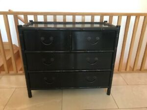 OKA  Chinese stye chest of drawers with bamboo detail and rattan sides