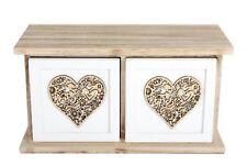 New Shabby Chic Wooden Wood Twin 2 Heart White Drawers Storage Box