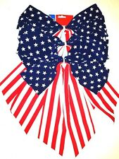 "Patriotic Bows Red White Blue US Flag Pattern Party Decor 14"" x 22"" Lot of 3 New"