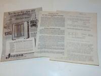 VTG 1940s JENSEN SPEAKERS ADVERTISING DATA SHEET! CABINETS/PRICES/ACCESSORIES!
