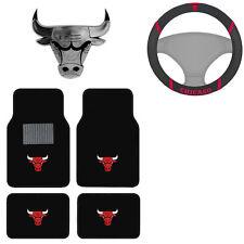New NBA Chicago Bulls Car Truck Floor Mats Steering Wheel Cover & Emblem