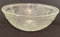 "Depression Glass Clear Serving Bowl, Cherries Pattern Vintage 7 3/8"""