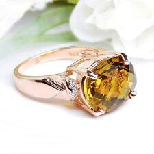 Whisky Rauchquarz Ring 925 Sterlingsilber in Rosegold Damen Edelstein Fingerring