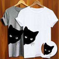 Womens Black Cat Print T-shirt Summer Short Sleeve Cew Neck Shirts Hipster Tops