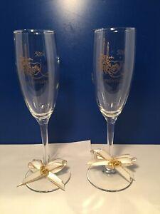2 GOLDEN 50TH ANNIVERSARY TOASTING CHAMPAGNE STEMWARE GLASSES FLUTE