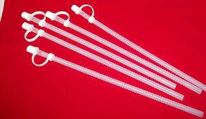 "5 New 13"" Clear Flex Straws Plastic Reusable Flexible Round BPA-Free straw w/Cap"