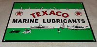 "VINTAGE TEXACO MARINE LUBRICANTS +BOATS 12"" METAL GASOLINE & OIL SIGN PUMP PLATE"