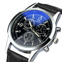 Luxus Faux Leder Herren Uhr Leder Band Rund Armbanduhr Alloy Analog Quarz Uhr